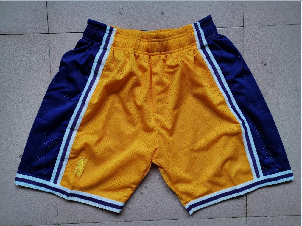 Lakers Yellow Mitchell Ness Mesh Swingman Shorts