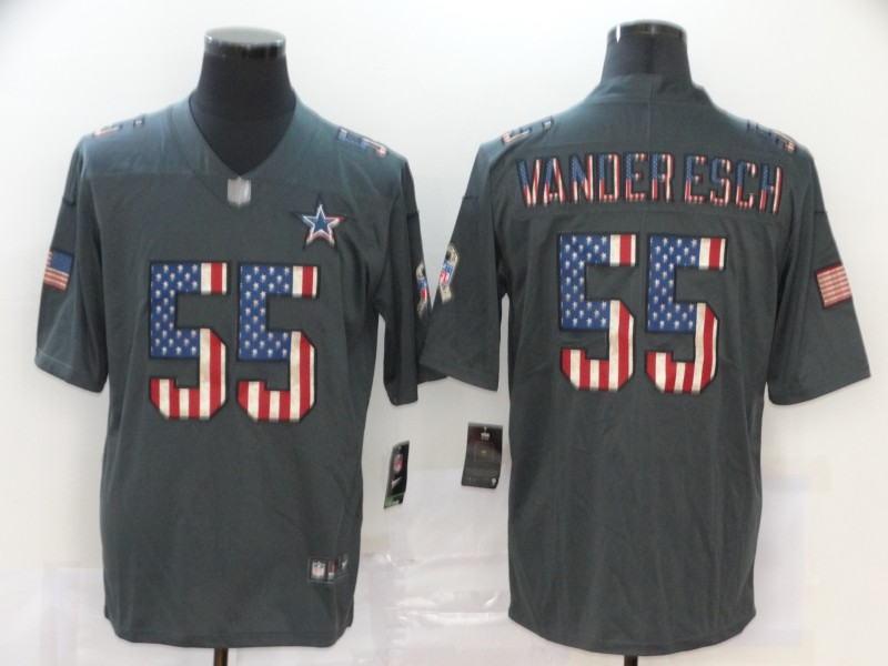 Nike Cowboys 55 Leighton Vander Esch 2019 Salute To Service USA Flag Fashion Limited Jersey