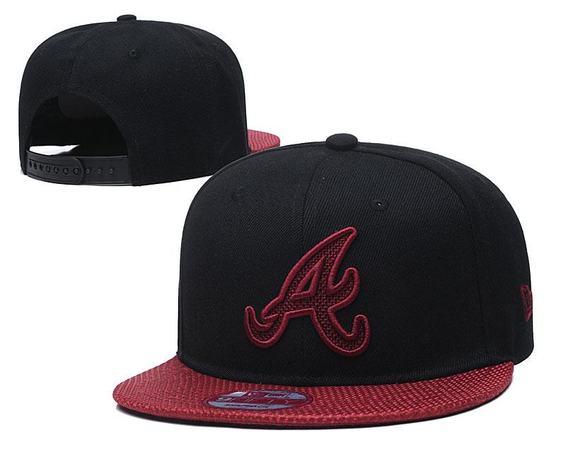 Braves Team Logo Black Red Adjustable Hat TX