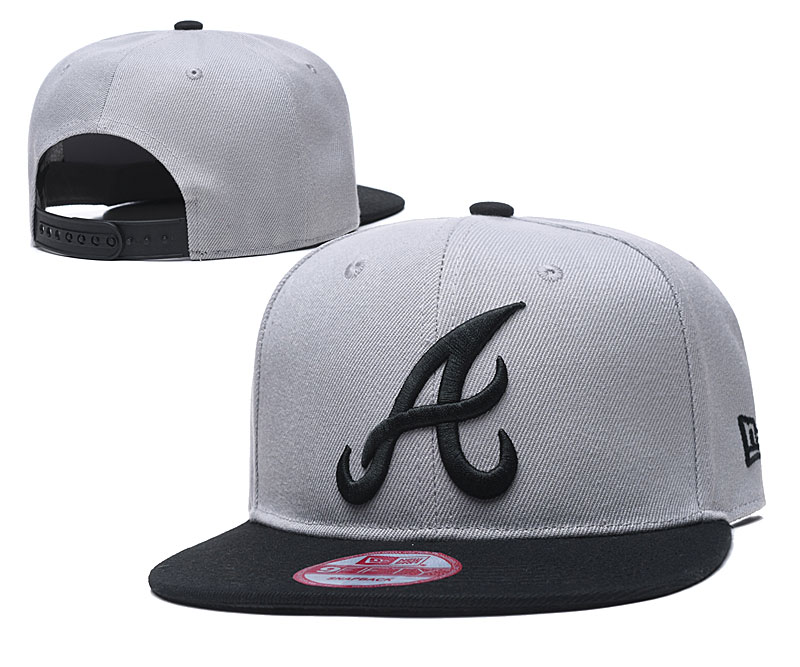 Braves Team Logo Gray Black Adjustable Hat TX
