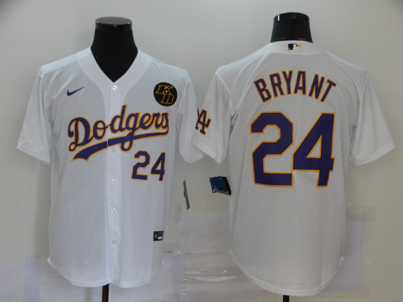 Dodgers 24 Kobe Bryant White 2020 Nike KB Cool Base Jerseys