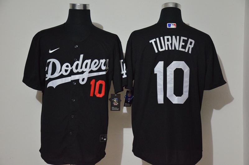 Dodgers 10 Justin Turner Black 2020 Nike Cool Base Jersey