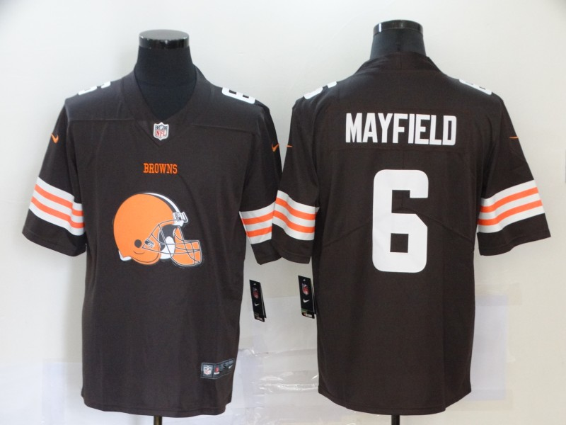 Nike Browns 6 Baker Mayfield Brown Team Big Logo Vapor Untouchable Limited Jersey