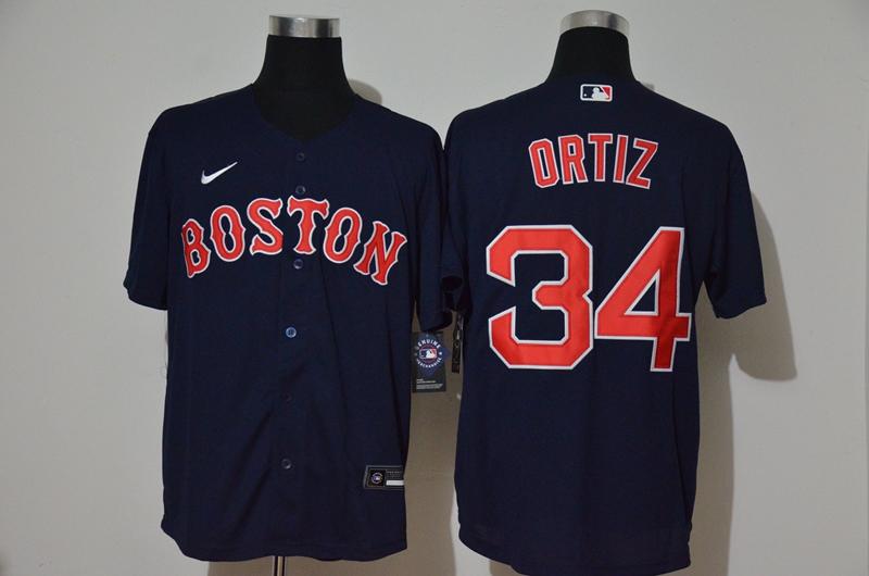 Red Sox 34 David Ortiz Navy 2020 Nike Cool Base Jersey