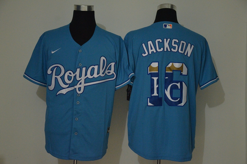 Royals 16 Bo Jackson Light Blue 2020 Nike Cool Base Fashion Jersey