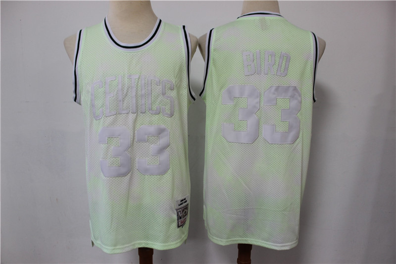 Celtics 33 Larry Bird Light Green Hardwood Classics Jersey