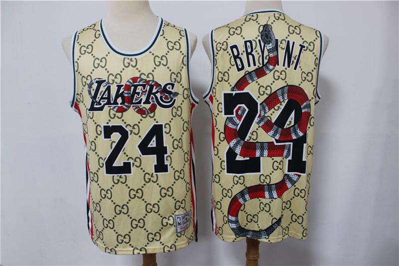 Lakers 24 Kobe Bryant Gray Gucci Chinese Dragon Hardwood Classics Jersey