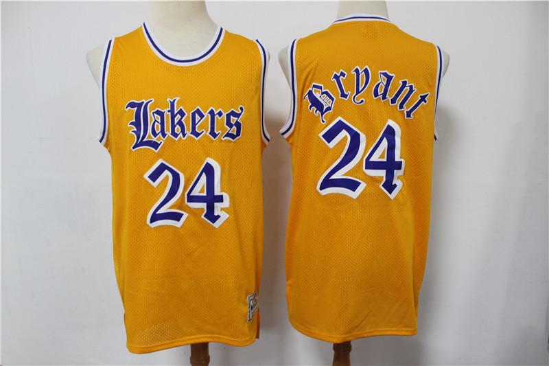 Lakers 24 Kobe Bryant Yellow Faded Swingman Jersey