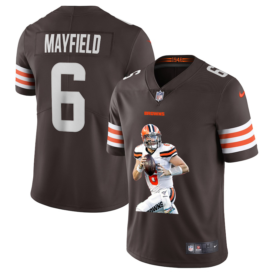 Nike Browns 6 Baker Mayfield Brown Player Name Logo Vapor Untouchable Limited Jersey