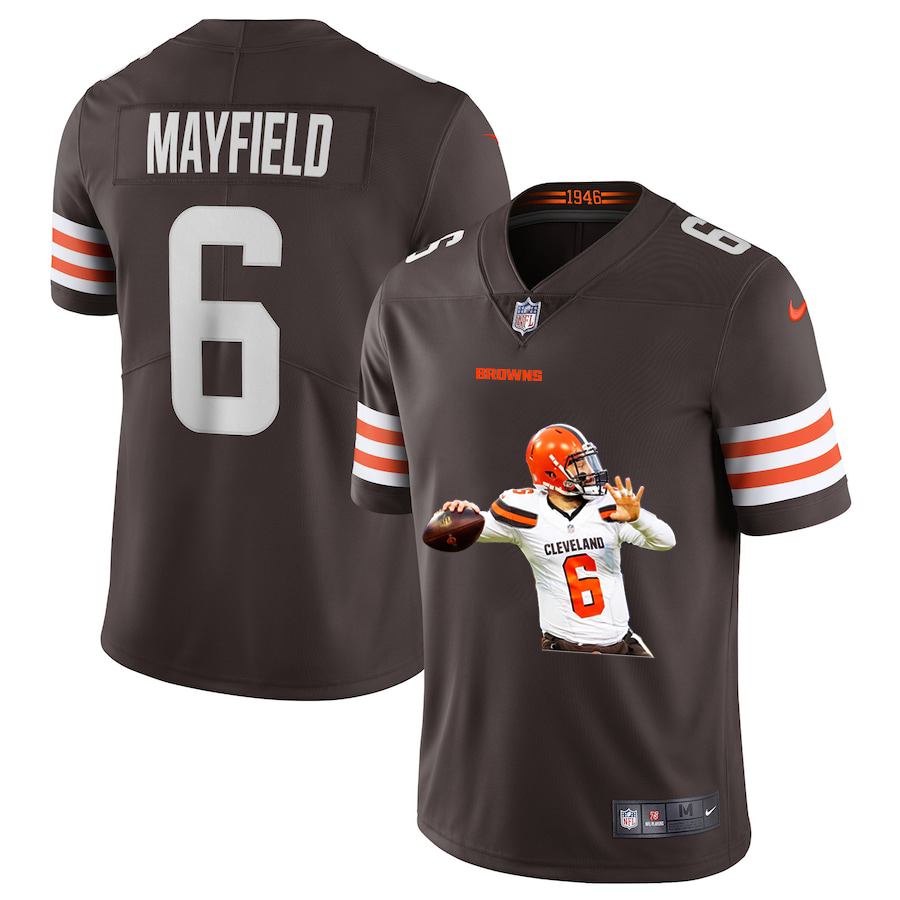 Nike Browns 6 Baker Mayfield Brown Player Name White Logo Vapor Untouchable Limited Jersey