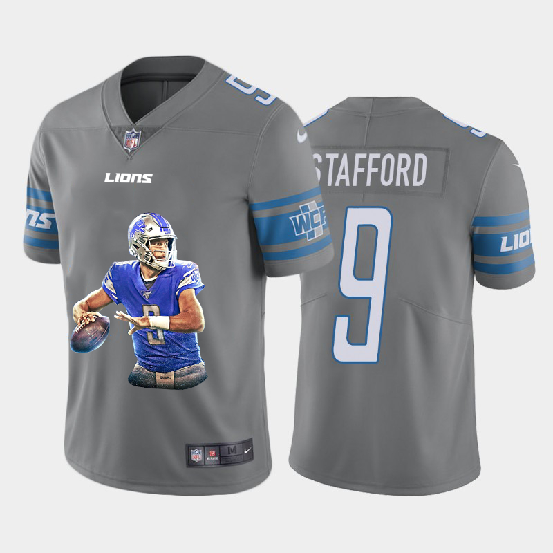 Nike Lions 9 Matthew Stafford Gray Player Name Logo Vapor Untouchable Limited Jersey