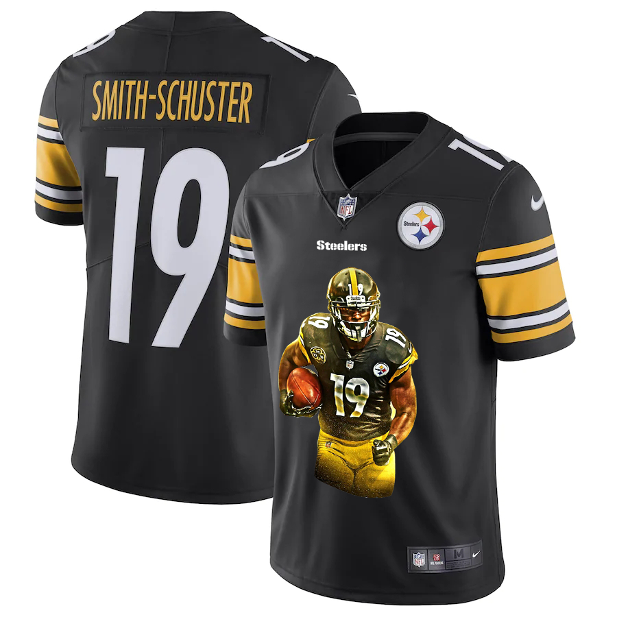 Nike Steelers 19 JuJu-Smith Schuster Black Player Name Logo Vapor Untouchable Limited Jersey