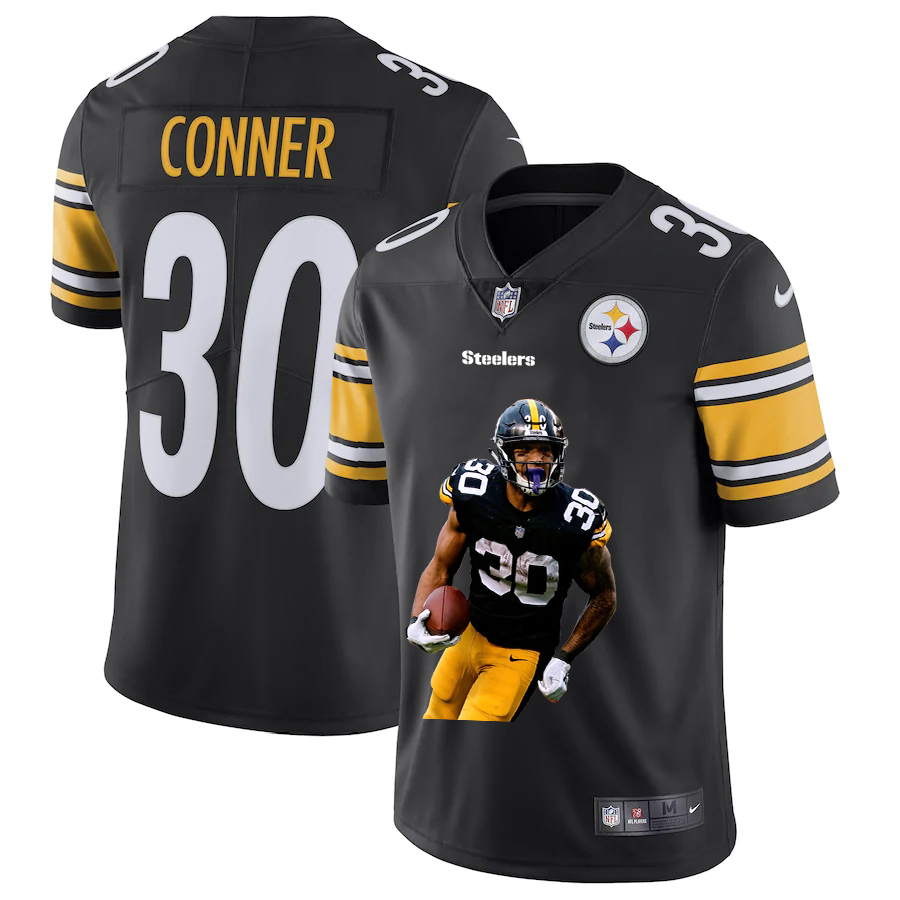 Nike Steelers 30 James Conner Black Player Name Logo Vapor Untouchable Limited Jersey