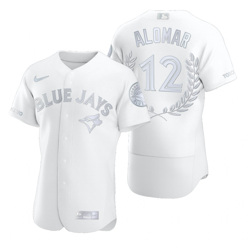 Blue Jays 12 Roberto Alomar White Nike Flexbase Fashion Jersey