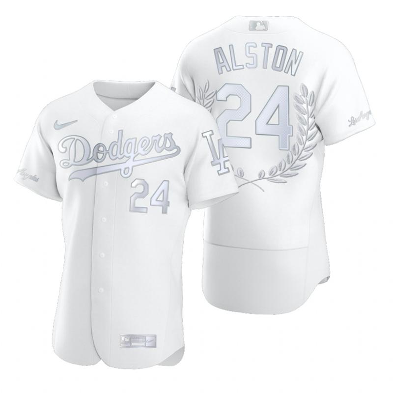 Dodgers 24 Walter Alston White Nike Flexbase Fashion Jersey