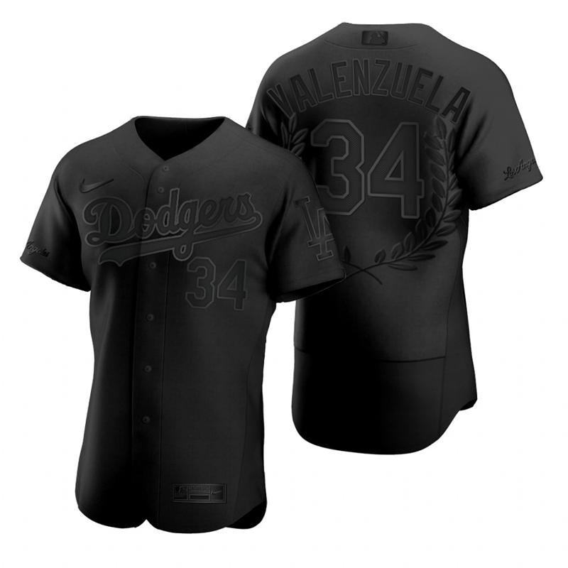 Dodgers 34 Fernando Valenzuela Black Nike Flexbase Fashion Jersey