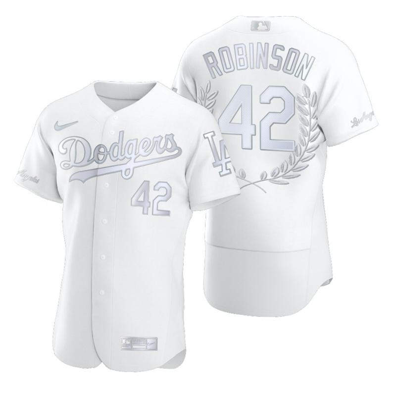 Dodgers 42 Jackie Robinson White Nike Flexbase Fashion Jersey