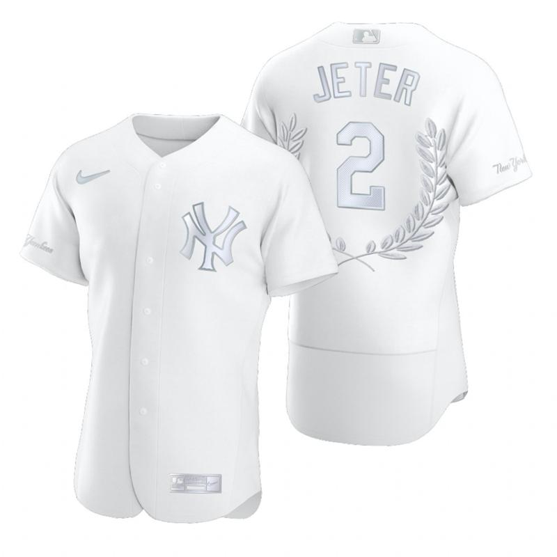 Yankees 2 Derek Jeter White Nike Flexbase Fashion Jersey