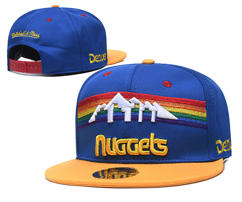 Nuggets Team Logo Blue Yellow Mitchell & Ness Adjustable Hat TX