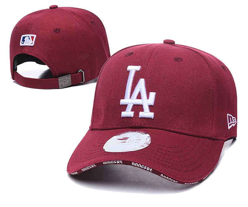 Dodgers Team White Logo Red Peaked Adjustable Hat TX