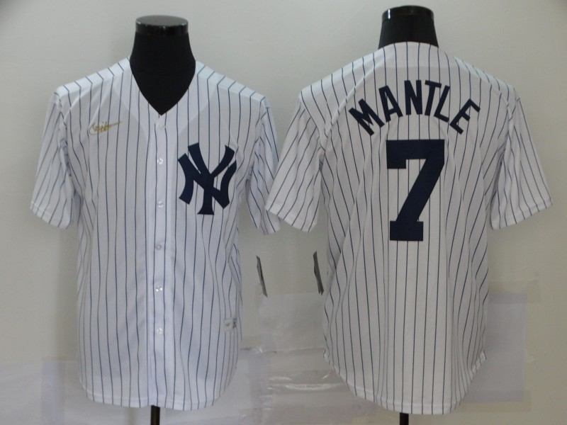Yankees 7 Mickey Mantle White Nike Cool Base Jersey