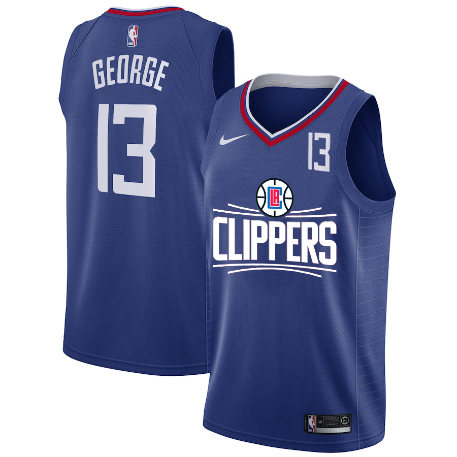 Clippers 13 Paul George Blue Nike Number Swingman Jerseys
