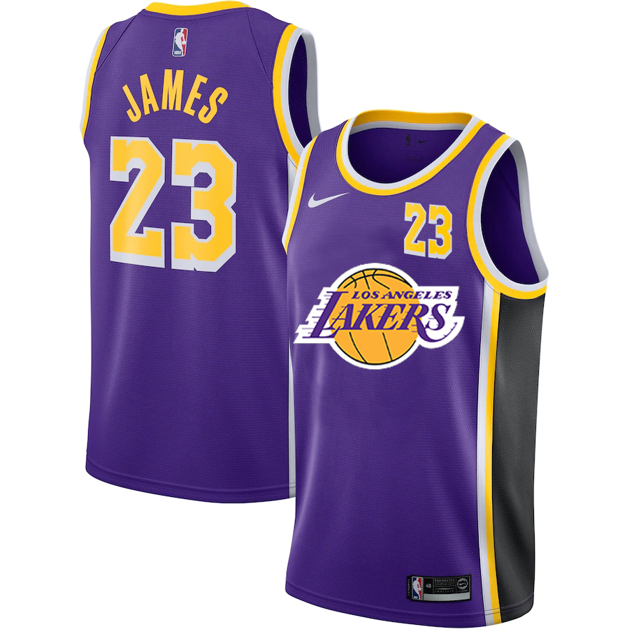 Lakers 23 Lebron James Purple Nike City Edition Number Swingman Jersey