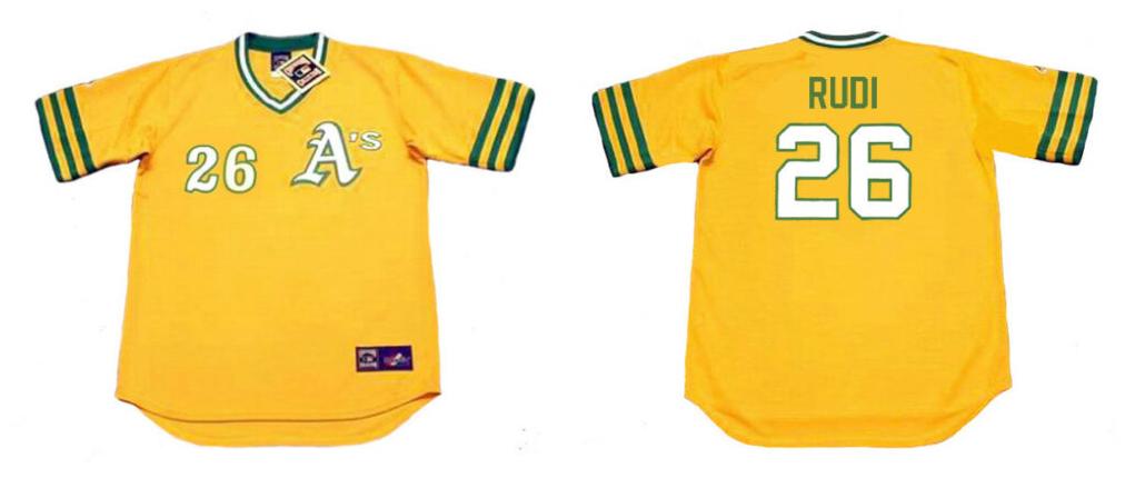 Athletics 26 JOE RUDI Yellow 1972 Throwback Jersey