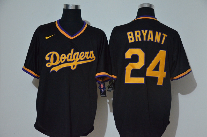Dodgers 24 Kobe Bryant Black Nike Throwback Cool Base Jersey