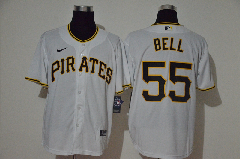 Pirates 55 Josh Bell White 2020 Nike Cool Base Jersey