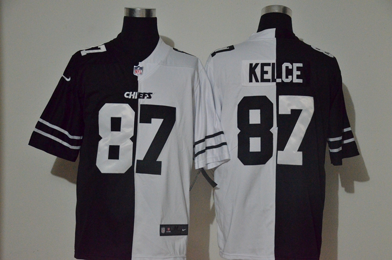 Nike Chiefs 87 Travis Kelce Black And White Split Vapor Untouchable Limited Jersey