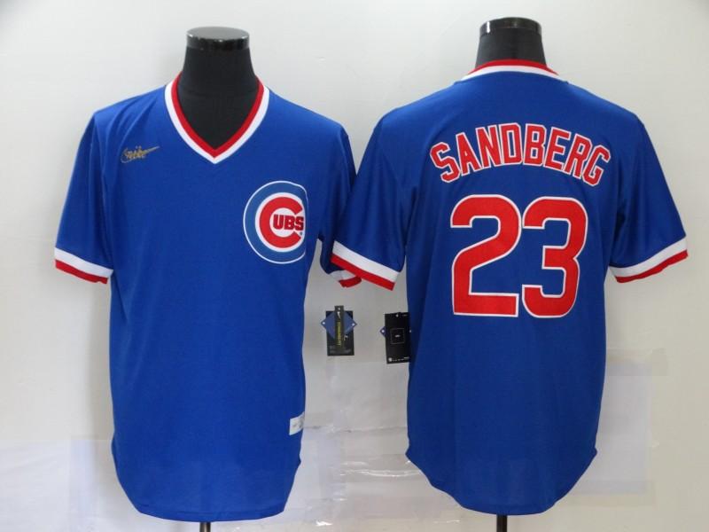 Cubs 23 Ryne Sandberg Royal Nike Throwback Jersey