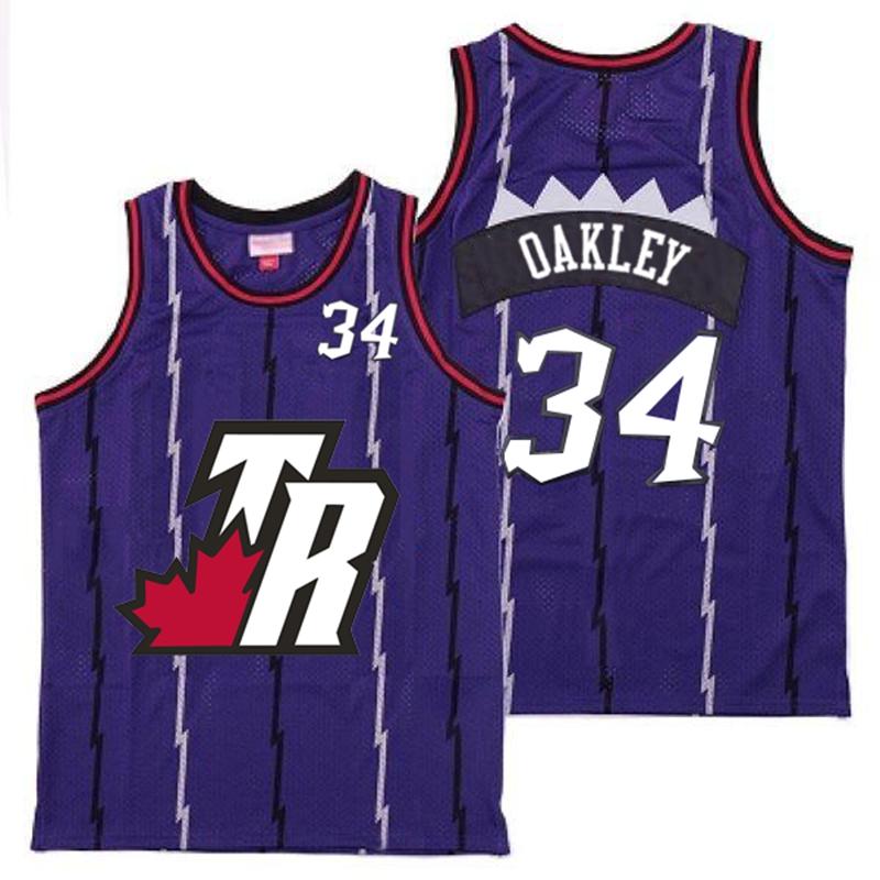 Raptors 34 Charles Oakley Purple Big White TR Logo Retro Jersey