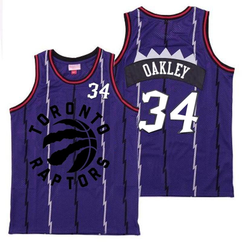 Raptors 34 Charles Oakley Purple Retro Jersey
