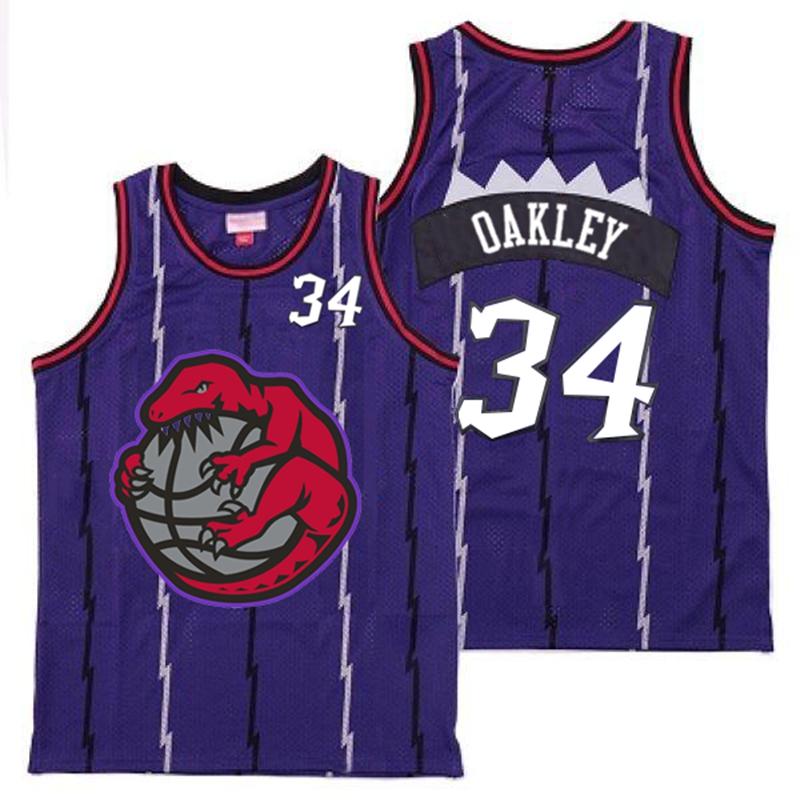 Raptors 34 Charles Oakley Purple Retro Jerseys