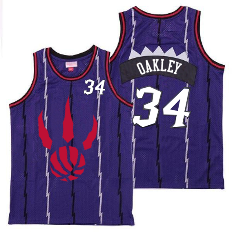 Raptors 34 Charles Oakley Purple Throwback Jerseys
