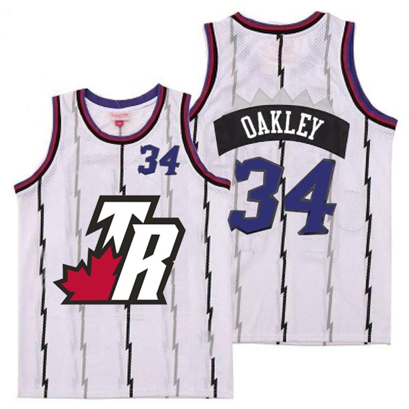 Raptors 34 Charles Oakley White Big White TR Logo Retro Jersey