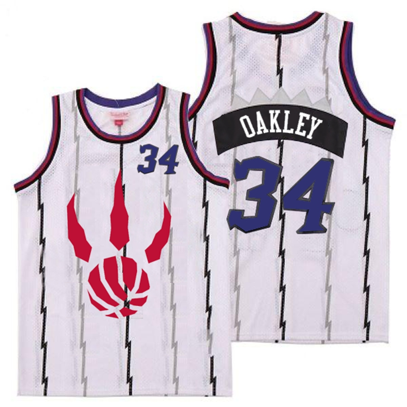 Raptors 34 Charles Oakley White Throwback Jerseys