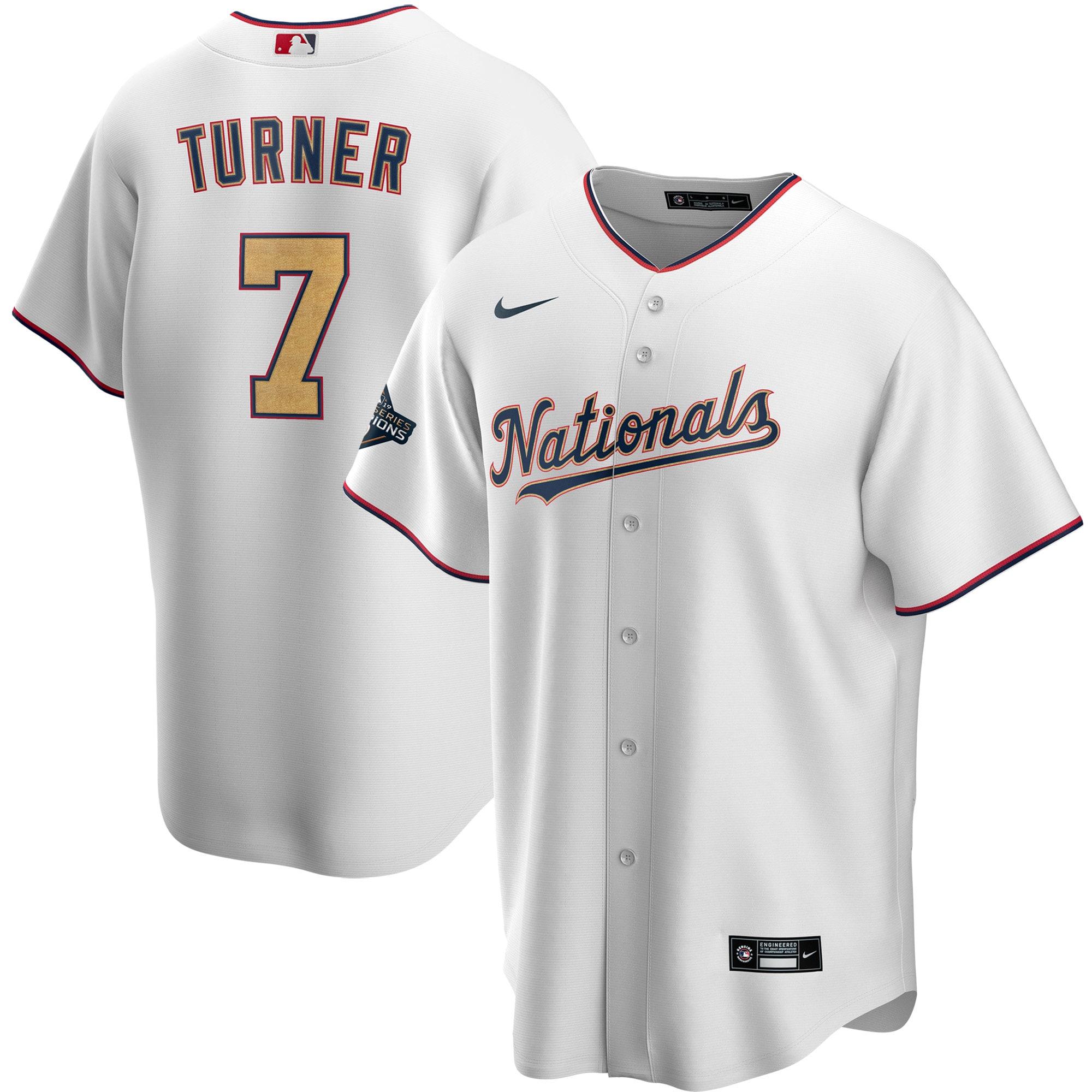 Nationals 7 Trea Turner White Gold Youth Nike 2020 Gold Program Cool Base Jersey