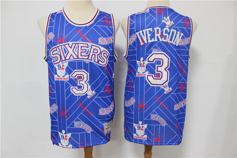 76ers 3 Allen Iverson Blue Tear Up Pack Hardwood Classics Swingman Jersey