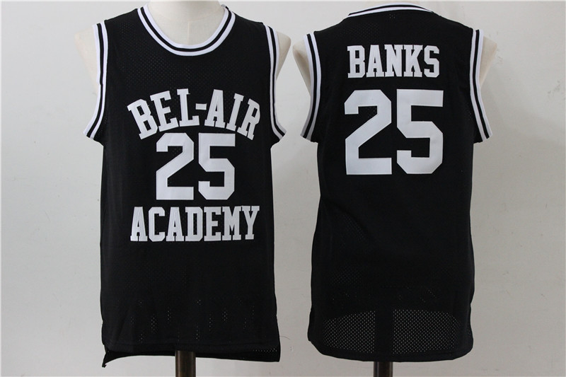 Bel-Air Academy 25 Carlton Banks Black Stitched Movie Jersey