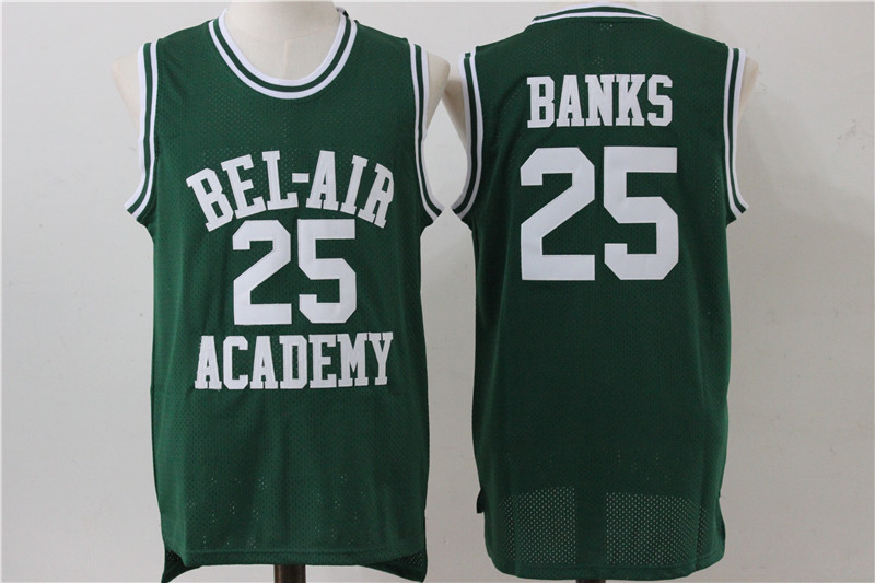 Bel-Air Academy 25 Carlton Banks Green Stitched Movie Jersey