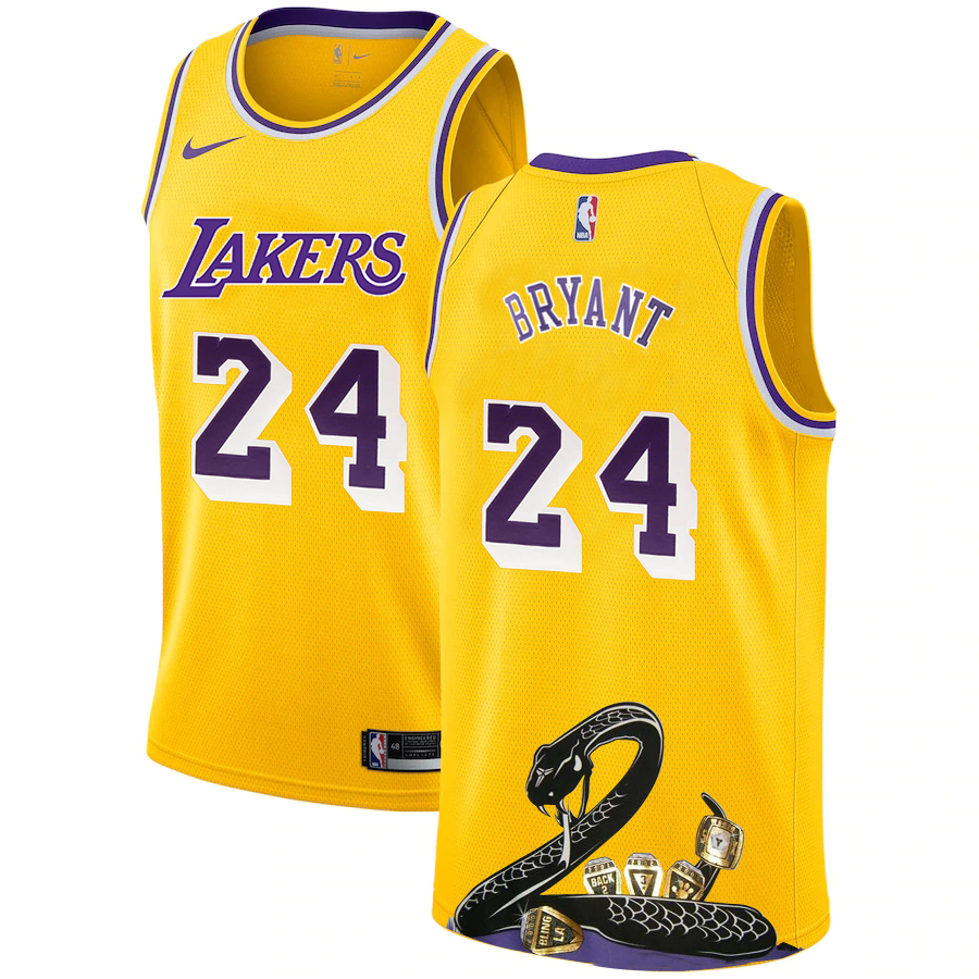 Lakers 24 Kobe Bryant Yellow Nike R.I.P Swingman Fashion Jersey