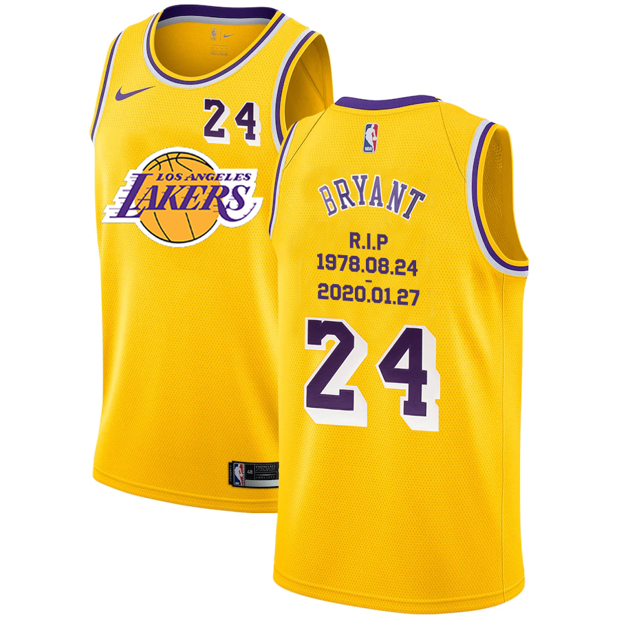 Lakers 24 Kobe Bryant Yellow Nike R.I.P Swingman Jersey