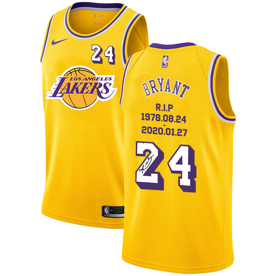 Lakers 24 Kobe Bryant Yellow R.I.P Signature Swingman Jersey
