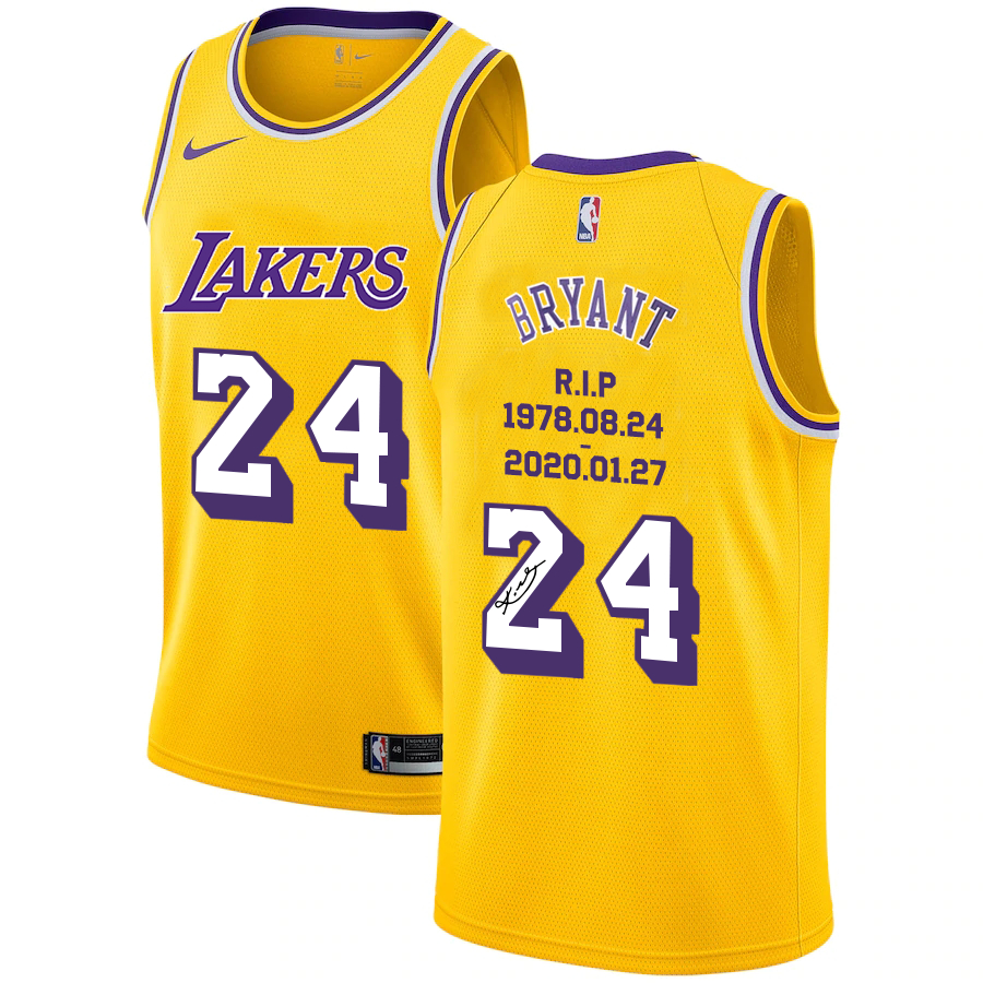 Lakers 24 Kobe Bryant Yellow R.I.P Signature Swingman Jerseys