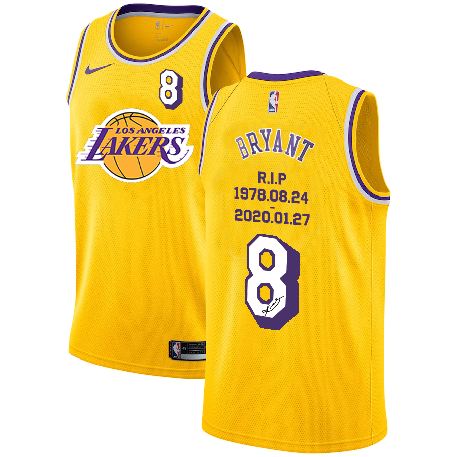 Lakers 8 Kobe Bryant Yellow R.I.P Signature Swingman Jersey