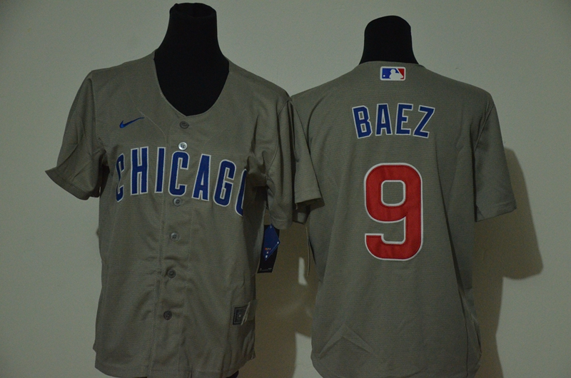 Cubs 9 Javier Baez Gray Youth 2020 Nike Cool Base Jersey