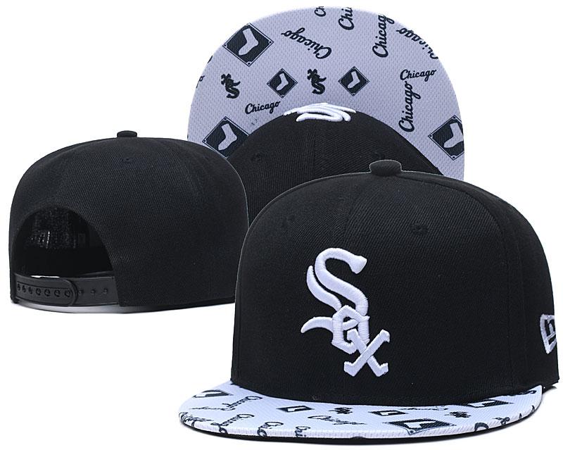 White Sox Team Logo Black White Adjustable Hat TX