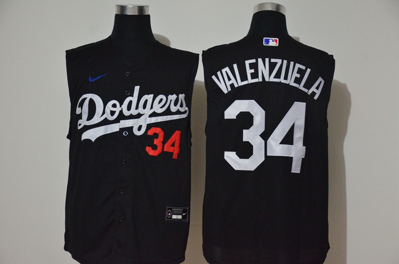Dodgers 34 Fernando Valenzuela Black Nike Cool Base Sleeveless Jersey